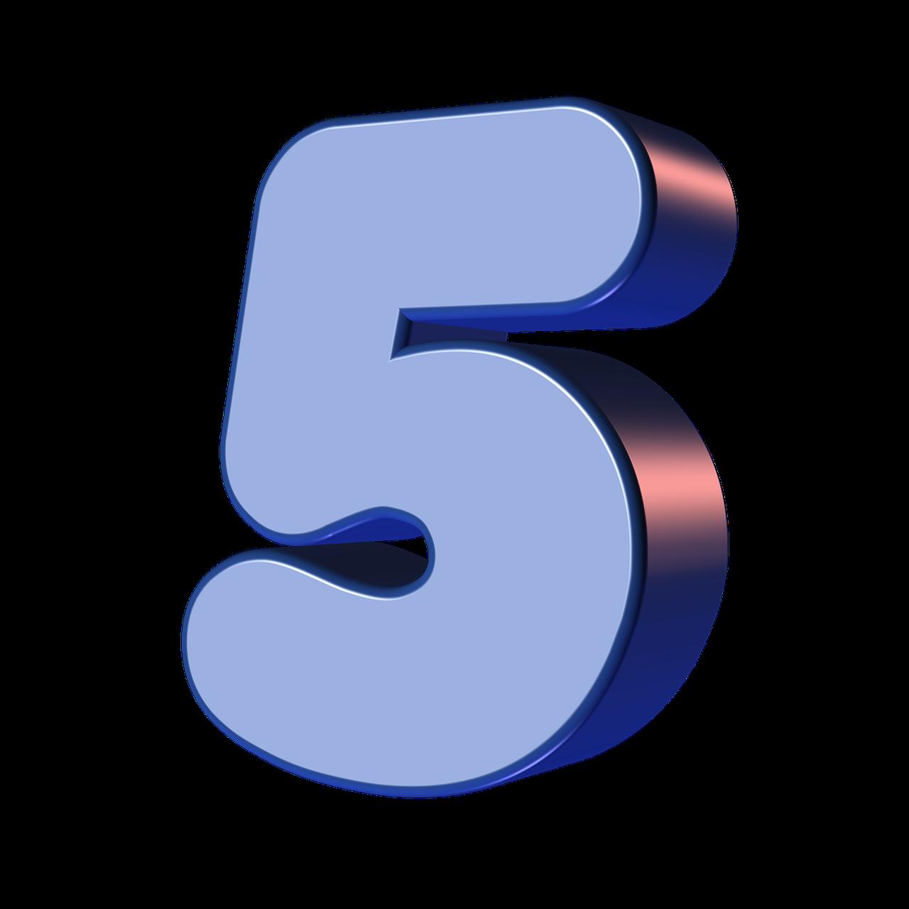 number, five, 5